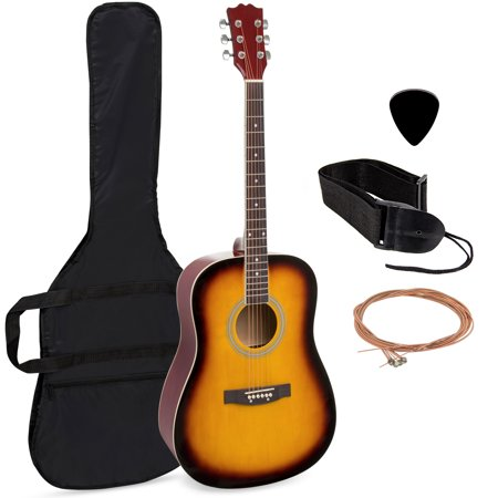 Best Choice Products 41in Full Size All-Wood Acoustic Guitar Starter Kit w/ Case, Pick, Shoulder Strap, Extra Strings - Sunburst Acoustic Guitar Tobacco Brown Sunburst