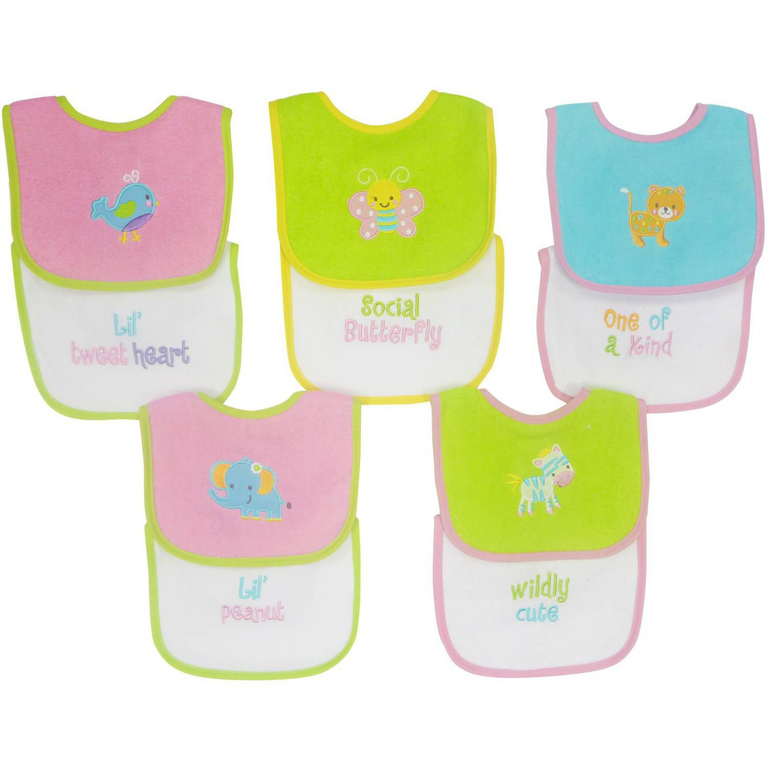 Knit Terry 10-Pack Bibs With PEVA, Girl