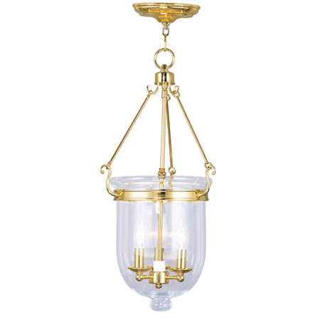 Pendants Porch 3 Light With Clear Glass Polished Brass size 12 in 180 Watts - World of Crystal