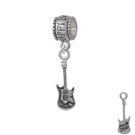 Rock Star Guitar - Happy Birthday Charm Bead for $<!---->