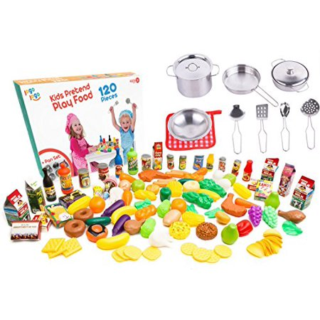Ultimate Kitchen Play food for Kids - 120 pcs Plastic Play Food Set + Pots and Pans 11 pcs Real Mini Stainless Steel - best Playing food play foods - Best Online Shopping Sites For Kids