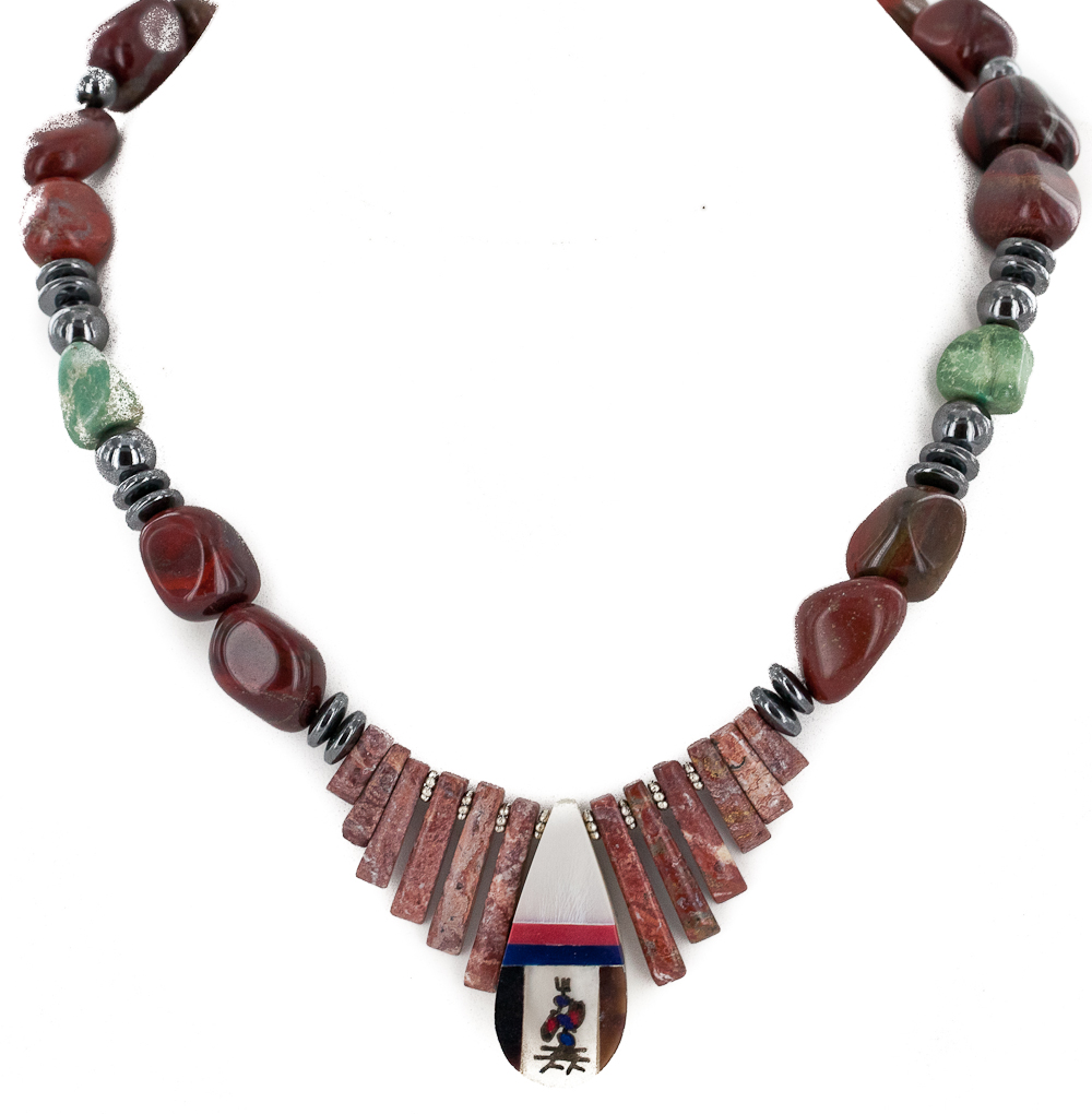 280 Retail Tag Kachina Inlay Authentic Made By Charlene Little Navajo .925 Sterling Silver Natural Turquoise Red Jasper... by
