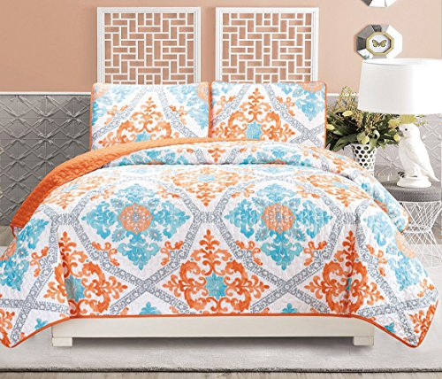3 Piece Fine Printed Quilt Set Reversible Bedspread Coverlet (California)  CAL KING SIZE Bed Cover (Turquoise, Blue, White, Grey, Orange)   Walmart.com