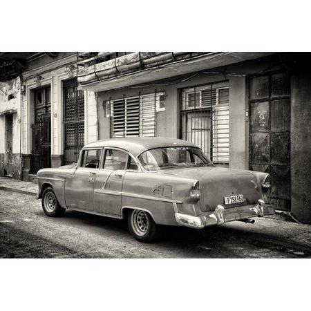 Cuba Fuerte Collection B&W - Old Antique Car in Havana III Print Wall Art By Philippe Hugonnard