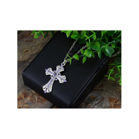Religious Crystal - Women Silvery Tone Religious Cross Pendant Necklace Lavender Purple Crystal Rhinestones
