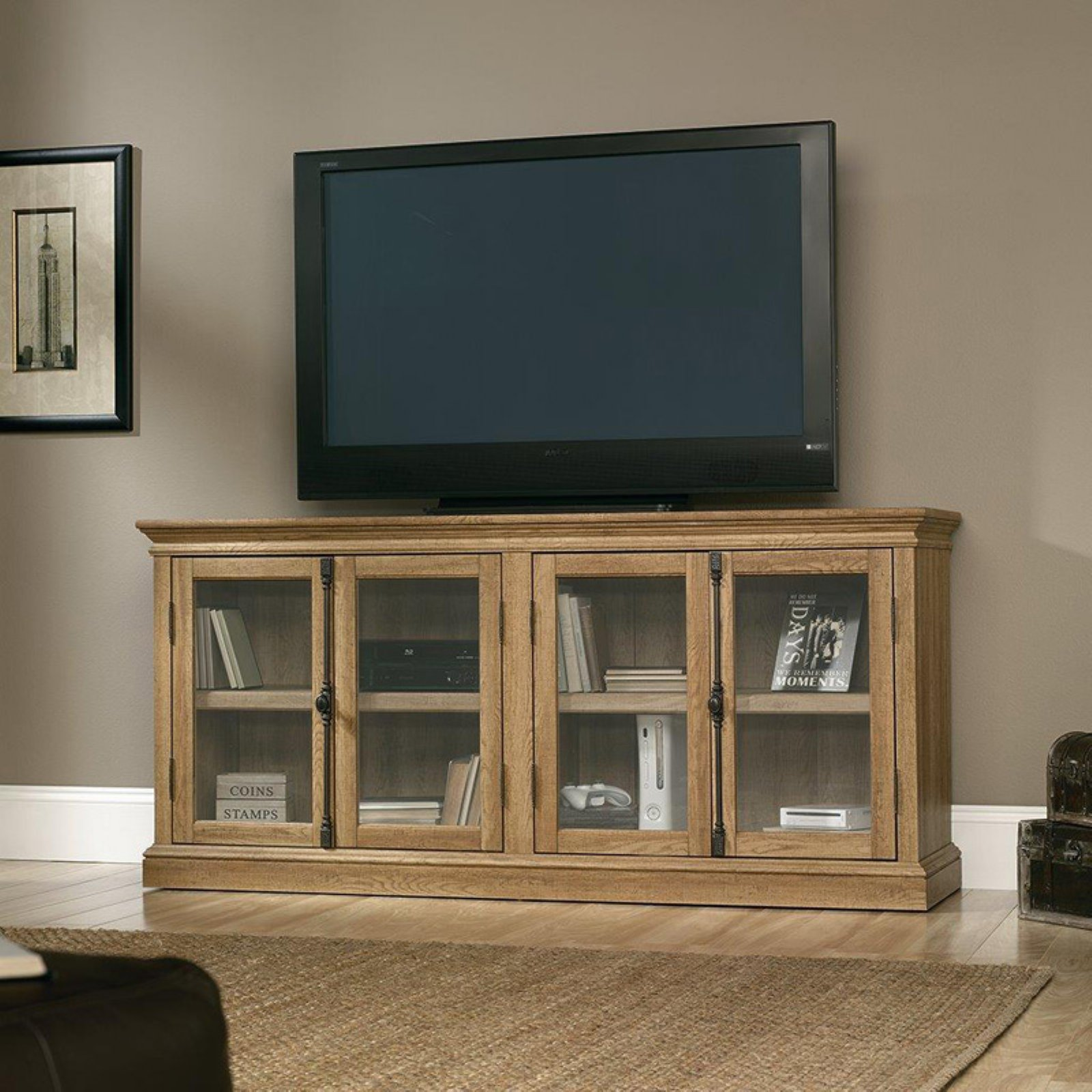 Sauder Barrister Lane Storage Credenza TV Stand Scribed Oak by Sauder