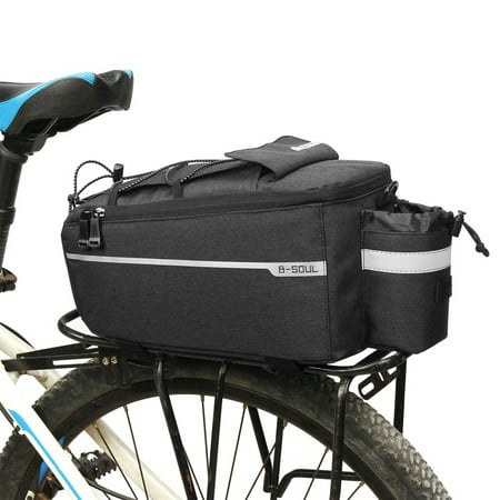 Bicycle Bag Insulated Trunk Cooler Pack Cycling Bicycle Rear Rack Storage Luggage Pouch Reflective MTB Bike Pannier Shoulder Bag, Waterproof Rear Seat Bag Pannier