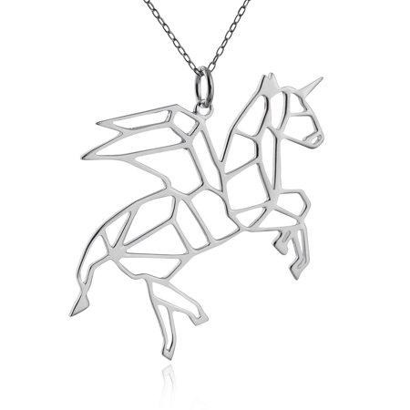 - Sterling Silver Origami Pegacorn Winged Unicorn Pendant Necklace, 18