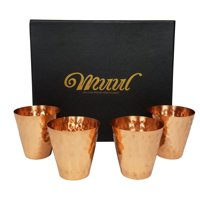 Moscow Mule Copper Shot Glasses Set Of 4 100% Pure Copper Handmade Hammered Shot Glasses in Gift box, Includes 4 Copper... by Shot Glasses