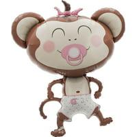 """Baby Girl Monkey Jumbo Balloon, 41"""""""