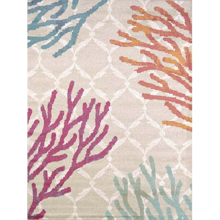 Designer Home Local Textures Area Rugs - 541-50389 Contemporary Tropical Coral Reef Diamonds Rug ()