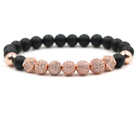Micro Pave Crown Zircon Matte Agate Bead Bracelets Bangle Men Jewelry