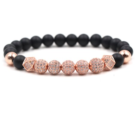 Micro Pave Crown Zircon Matte Agate Bead Bracelets Bangle Men Jewelry