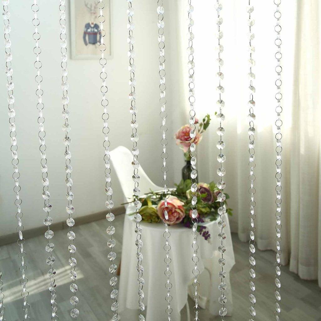 Efavormart DIVA-Style Premium Endless Diamond Curtain Backdrops 8ft x 3ft Clear Diamonds w/ Bendable Rod Top