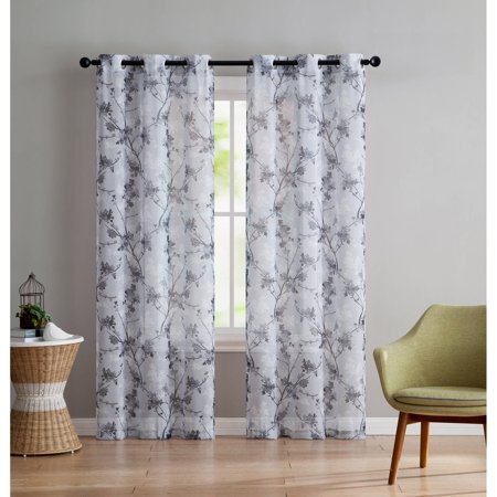 VCNY Home Jasmine Semi Sheer Floral Printed Grommet Top Window Curtain Panel, Set of 2, Multiple Sizes Available (Ladies Semi Sheer)