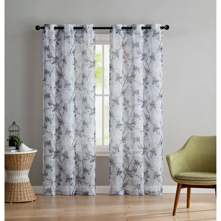 VCNY Home Jasmine Semi Sheer Floral Printed Grommet Top Window Curtain Panel, Set of 2, Multiple Sizes Available