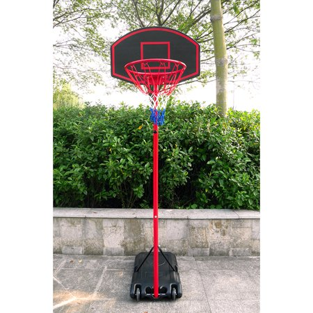 Zimtown Basketball Goal 5.2ft - 7.2ft Height Adjustable, Movable / Portable Basketball Hoop Stand System with Wheels, Backboard, for Kids Teen Outside Backyard (Height Of A Basketball Hoop High School)