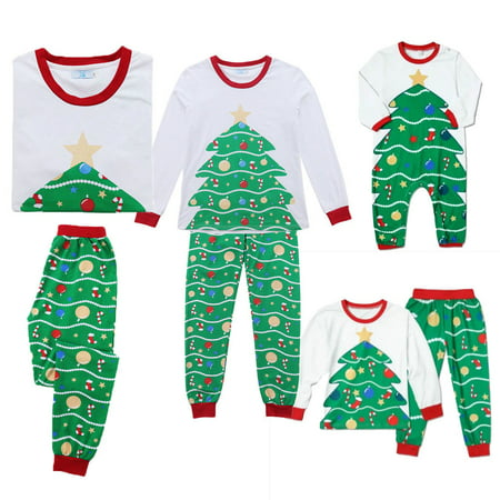 Family Matching Christmas Tree Pajamas PJs Xmas Kids Adult Sleepwear - Pajamas Family Christmas