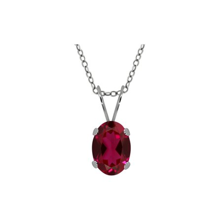 """Stunning Oval 7X5mm Birthstone Sterling Silver Pendant with 18"""" Silver Chain - image 1 de 1"""