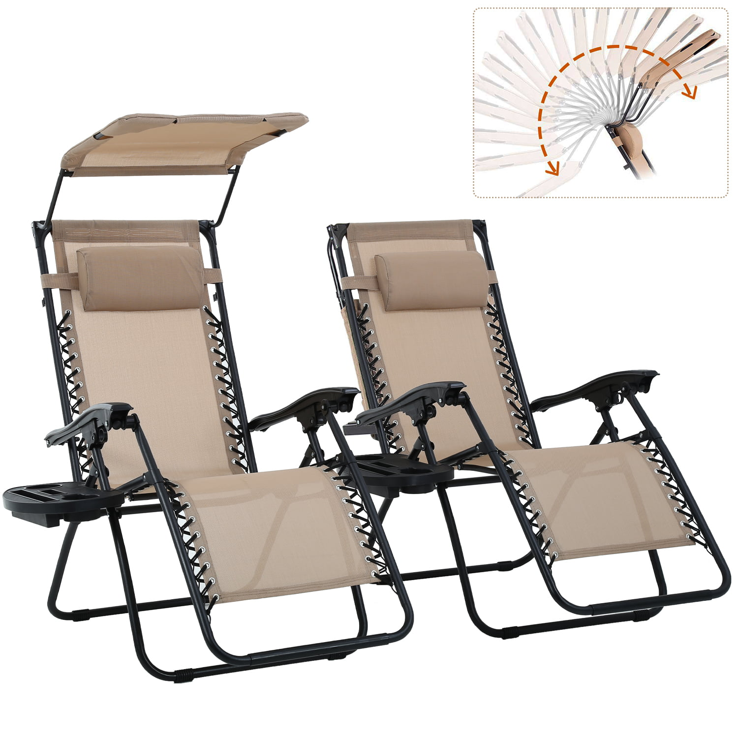 Patio Zero Gravity Lounge Chair 2 Pack Recliner For Outdoor Funiture W Folding Canopy Shade And Cup Holder Tan Walmart Com Walmart Com