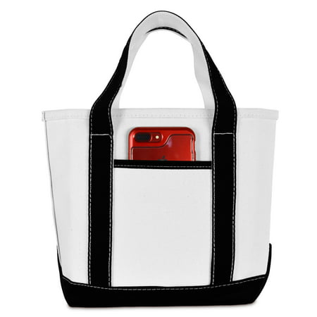 "DALIX 14"" Mini Small Cotton Canvas Gift Tote Bag in Black"