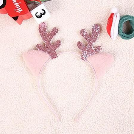 Kids Reindeer Antlers (KABOER Women Girl Glitter Cat Ears Reindeer Antlers Sequins Headband Kids Hair Hoop Christmas Xmas Gift Costume)