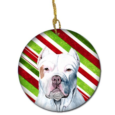 Pit Bull Candy Cane Holiday Christmas Ceramic Ornament - image 1 de 1