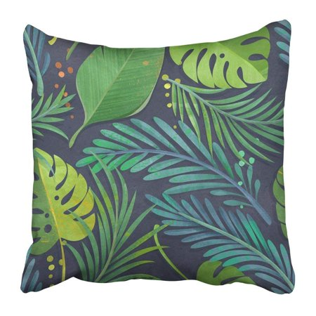 ARTJIA Green Watercolor Jungle Leaf Pattern on Tropical Blue Floral Rain Forest Teal Turquoise Botanical Pillowcase Pillow Cover 18x18 inches