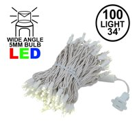 Novelty Lights 100 Light Warm White LED Christmas Mini String Light Set, UL Listed Indoor/Outdoor, White Wire, 34 Feet