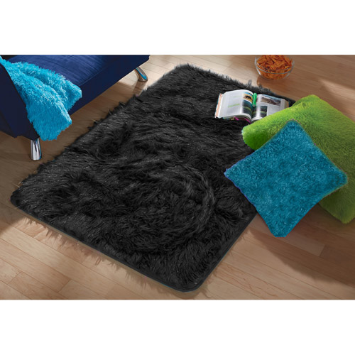 "your zone black tinsel fur rug, 2'6"" x 3'2"""