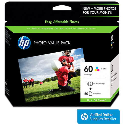 HP 60 Tricolor Original Ink Cartridge wPhoto Paper CG845AN