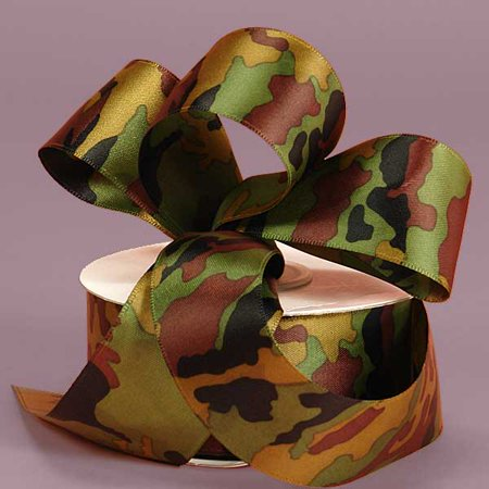 Satin Dark Camouflage Camo 1-1/2 inches x 25 yards Decorative Ribbon](Camouflage Ribbon)