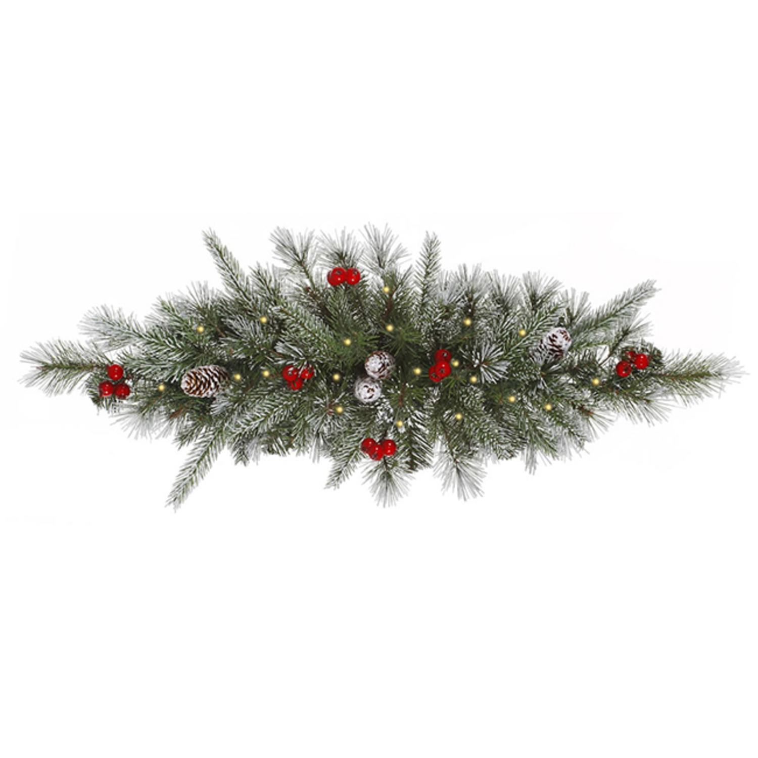 "30"" Pre-Lit Frosted Pine Cone and Berry Christmas Swag - Clear Lights"