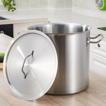Moaere Commercial Grade Stainless Steel Stock Pot with Lid Non Toxic Cookware Stockpot Heavy Duty Stock Pots for Cooking,4 Size ,8/13/19/26