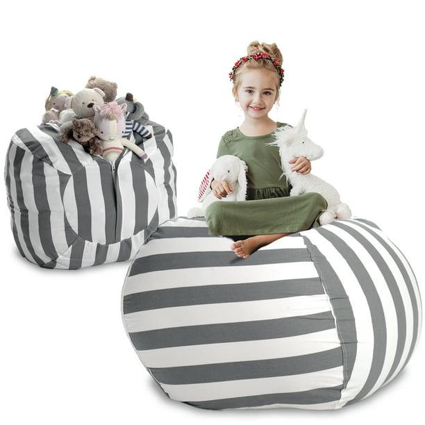 Dark Blue, Small Childrens Toy Organizer, Beanbag Cover for Organizing Kids Room Kids Stuffed Animal Storage Bean Bag Chair