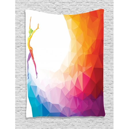 Sports Tapestry, Gymnastics Girl Gymnast Portrait Colored Geometric Digital Shapes Modern Olympics, Wall Hanging for Bedroom Living Room Dorm Decor, Multicolor, by Ambesonne](Geometric Portrait)