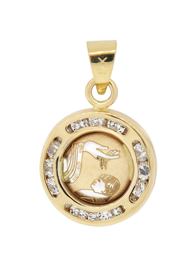 14k Yellow Gold, Mini Laser Engraved Baptism Christening Pendant Charm Created CZ Crystals