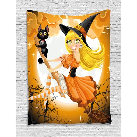 Halloween Tapestry, Cute Sexy Witch on a Broom with Baby Kitten and Hazy Moonlight Halloween Themed, Wall Hanging for Bedroom Living Room Dorm Decor, Multicolor, by Ambesonne