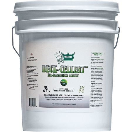 WERTH SANITARY SUPPLY 5770-802 Bio-Based Floor Cleaner,5 gal Pail G0551988