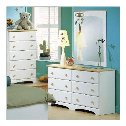 Collection Double Dresser and Mirror Set in White
