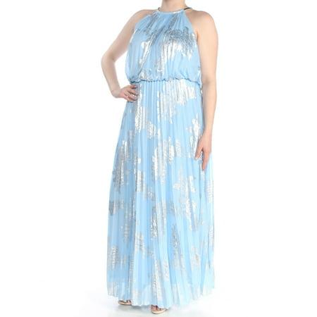 MSK Womens Light Blue Pleated Metallic Sleeveless Halter Full-Length  Blouson Formal Dress Plus Size: 18W