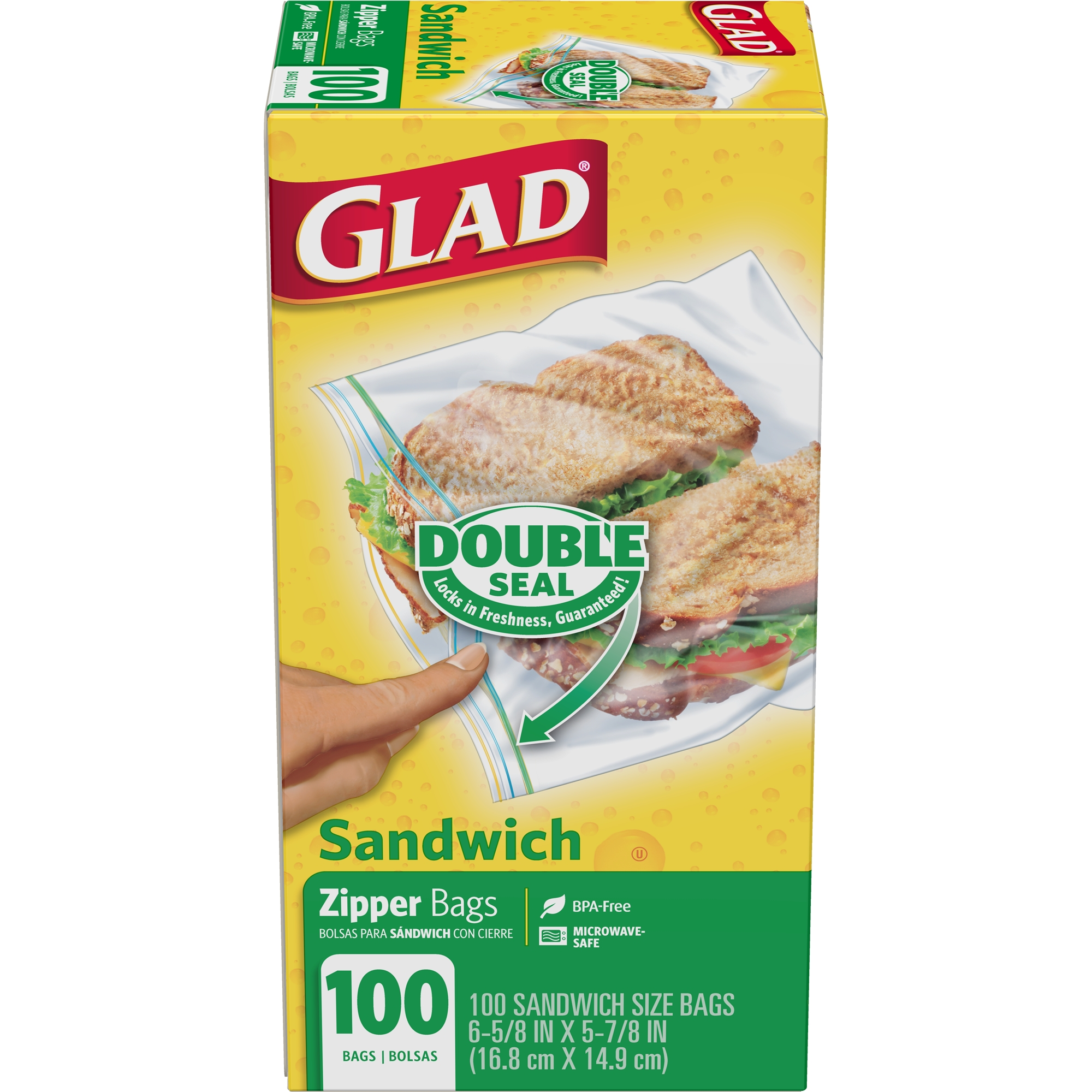 Glad Zipper Food Storage Sandwich Bags - 100 ct