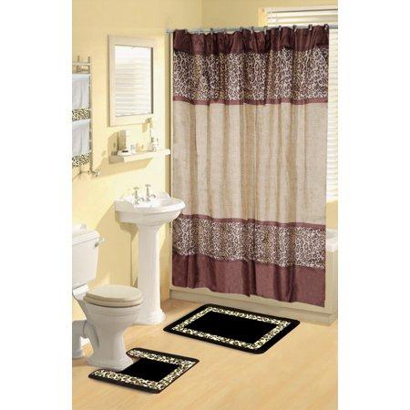 Brown Black Leopard 17 Piece Bathroom Set Bath Rugs Shower Curtain Rings 2 Towels