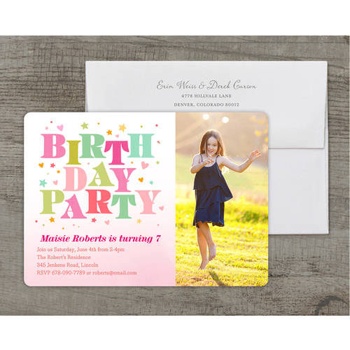 Bright Birthday Deluxe Birthday Young Girl Invitation