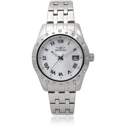 Invicta Women's 17487 Stainless Steel Angel Rhinestone Round Face Chronograph Watch