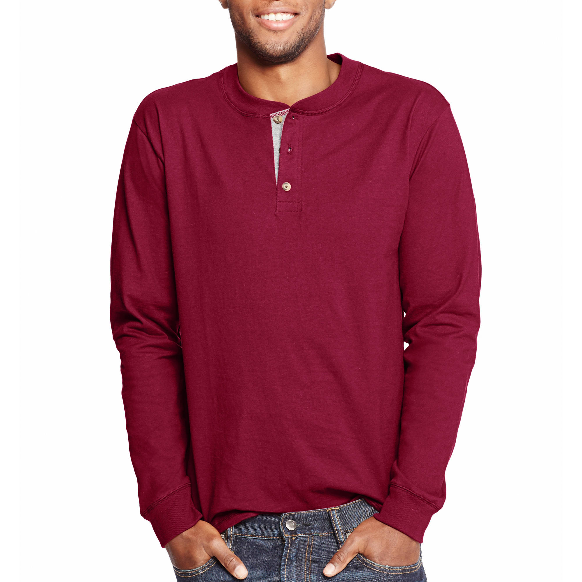 Hanes Men's Beefy Long Sleeve Henley T-shirt