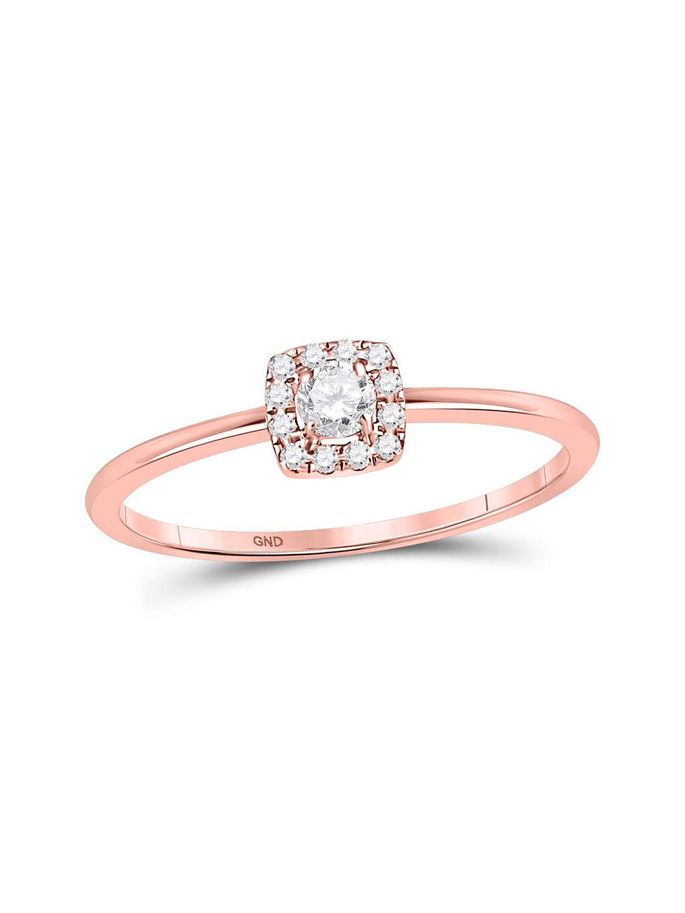 Diamond Floral Accent Fashion Ring Stackable Band Style 1//12ct 10k Rose Gold