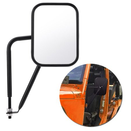 Yosoo Rectangular Door-less Shake-proof Side Rear View Mirror for Jeep Wrangler TJ JK JKU CJ 97-17, Doorless Rear View Mirror, Rear View Mirror for Jeep Wrangler