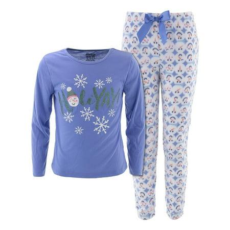 Girls Holiday Pajamas (Sleep On It Girls Holiday Snowman Blue Christmas)