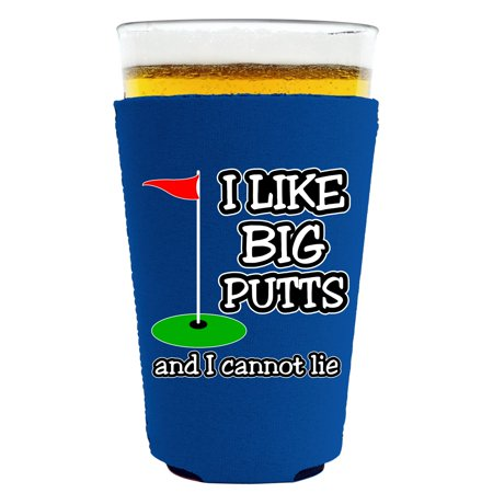 Coolie Junction I Like Big Putts and I Cannot Lie Pint Glass Coolie, Neoprene Collapsible (Royal Blue) ()